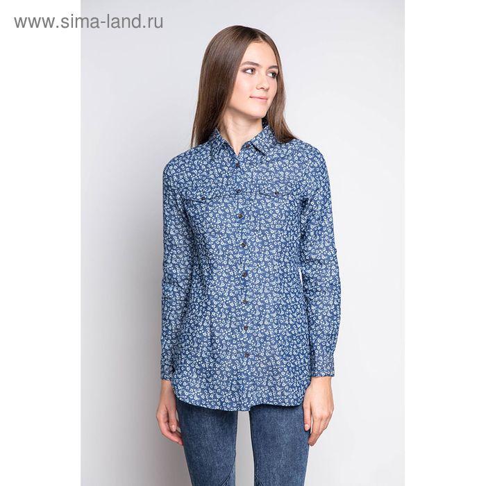 Блузка женская с длинным рукавом 1561 размер 48, цвет джинс
