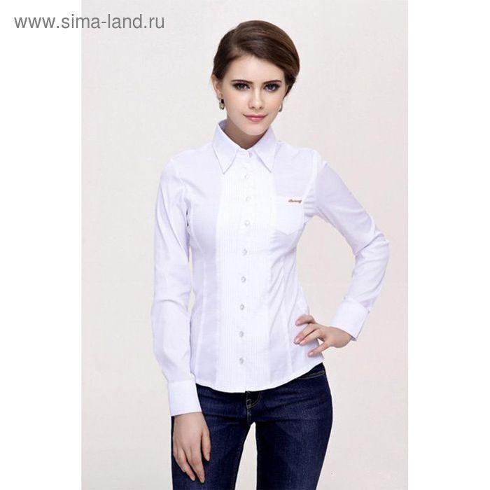 Блузка женская с длинным рукавом 905-1239, размер 48, цвет белый