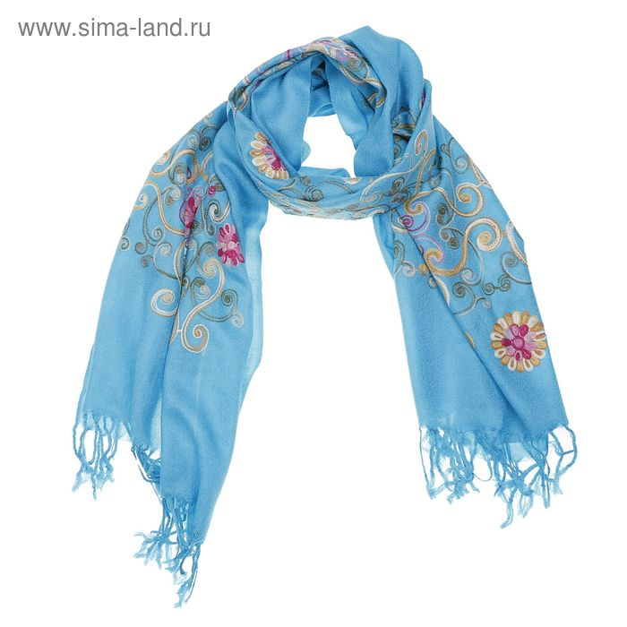 Палантин однотонный с бахромой, размер 70х170 см, цвет голубой P 2939 текстиль, фланель