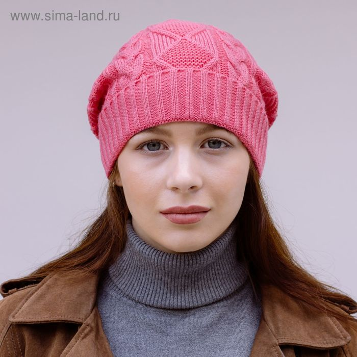 """Шапка женская зимняя """"ЗАРА 2"""", размер 58, цвет розовый 309080"""