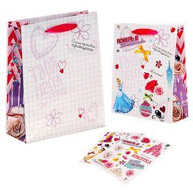 """Пакет ламинат вертикальный с наклейками """"Подарок для принцессы"""", Принцесса"""
