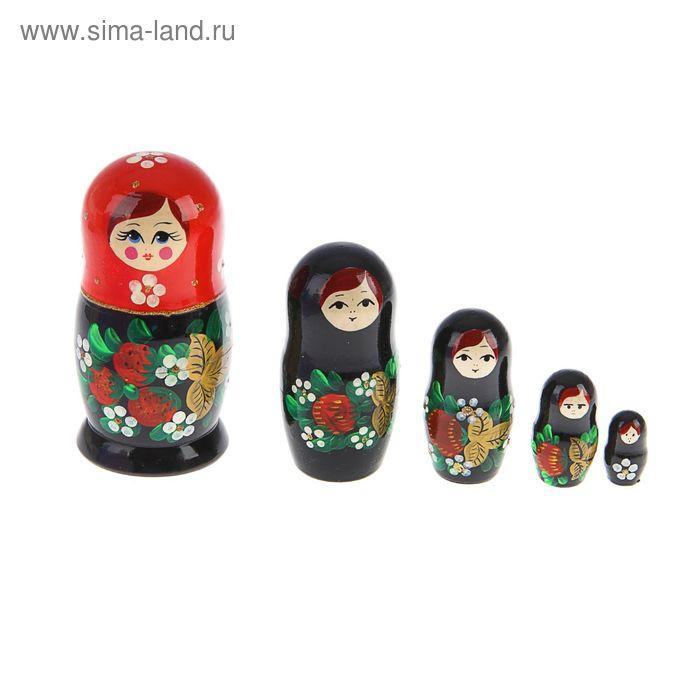 """Матрешка """"Ягоды"""" красный платок 5 кукол средняя, полхово-майданская роспись"""