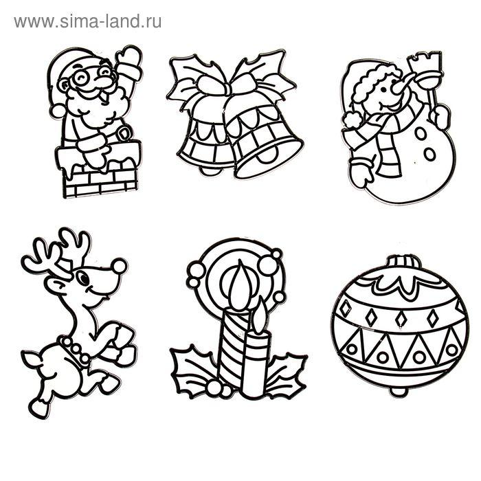 "Витраж-мини ""Дед Мороз, снеговик, шарик, колокольчики, свечка, олень"""
