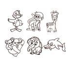 """Витраж-мини """"Дельфин, слоник, коала, жираф, обезьяна, утенок"""""""