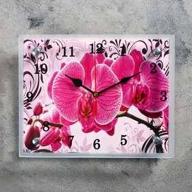 """Часы-картина настенные """"Розовые орхидеи с узором"""", 20х25 см микс"""