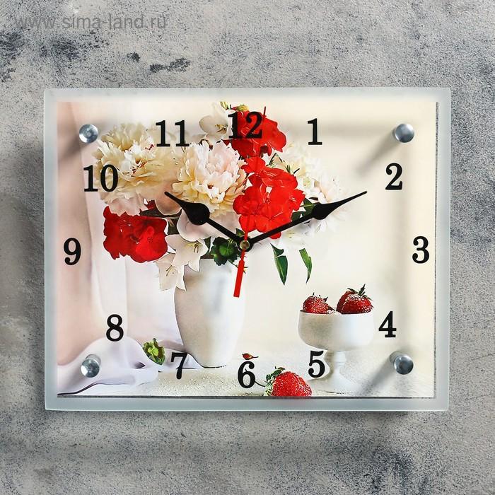 """Часы настенные прямоугольные """"Цветы в вазе"""", микс 20х25 см"""