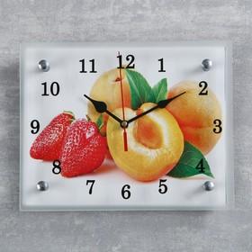 """Часы настенные прямоугольные """"Абрикосы и клубника"""", 20х25 см  микс"""