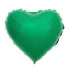 """Шар фольгированный 4"""", сердце, металл, цвет зелёный"""