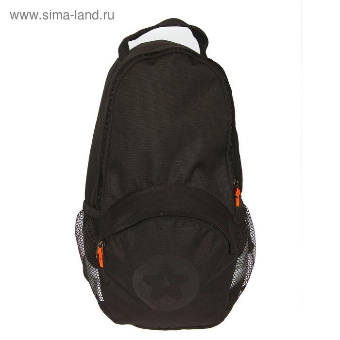 Рюкзак молодежный на молнии, 1 отделение, 3 наружных кармана, чёрный/оранжевый