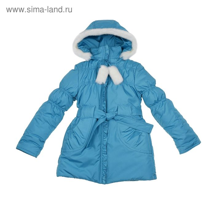 """Пальто для девочки """"Рюши"""", рост 128 см, цвет бирюза"""