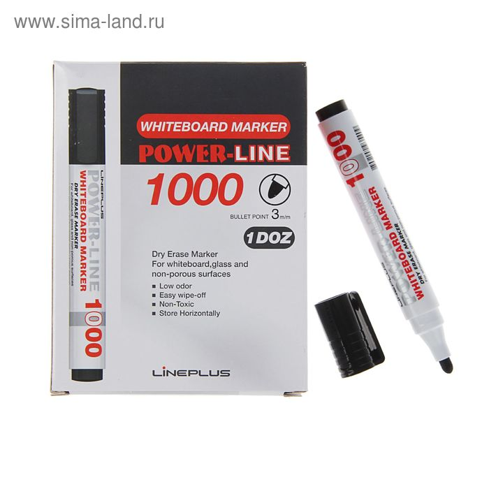 Маркер для доски 3.0 мм Line Plus 1000B чёрный