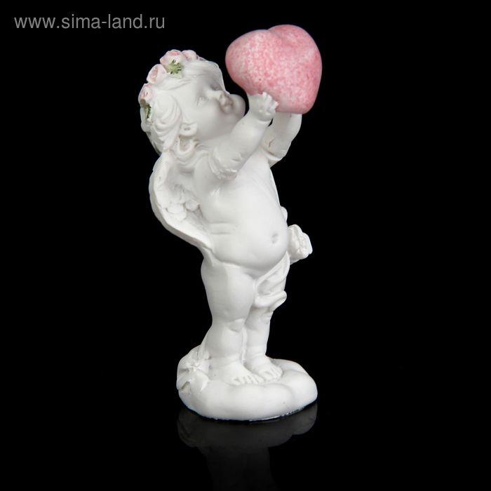 """Сувенир """"Ангелочек с розовым веночком держит сердце"""""""