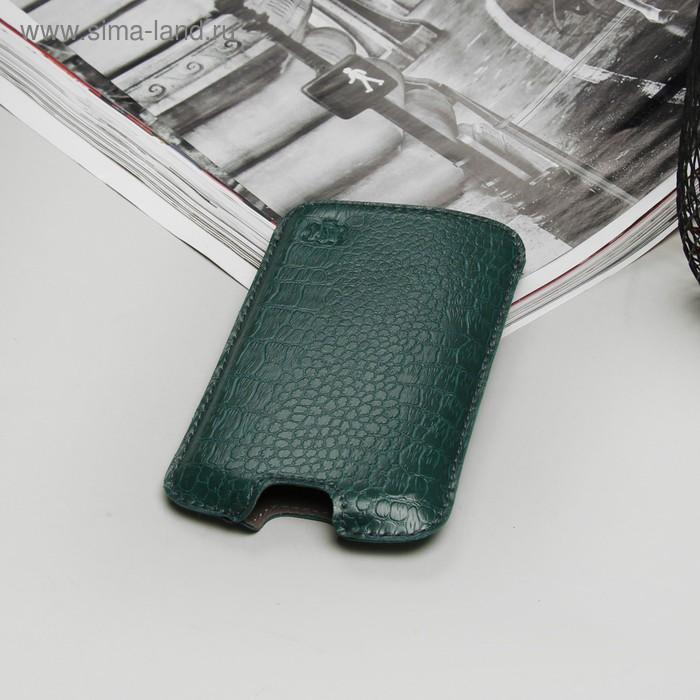 """Чехол-кармашек """"Norton"""" для телефона Samsung, рептилия, цвет зелёный"""