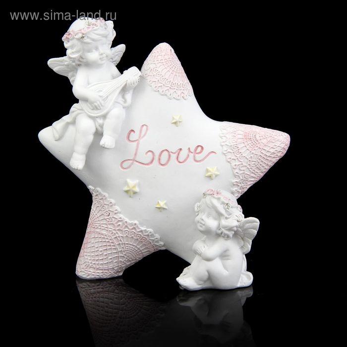 """Сувенир """"Ангелочки в розовых веночках на звёздочке"""""""