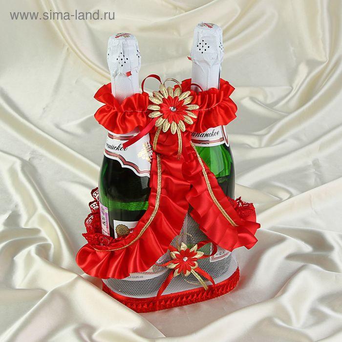 Корзинка для шампанского с ручкой красная