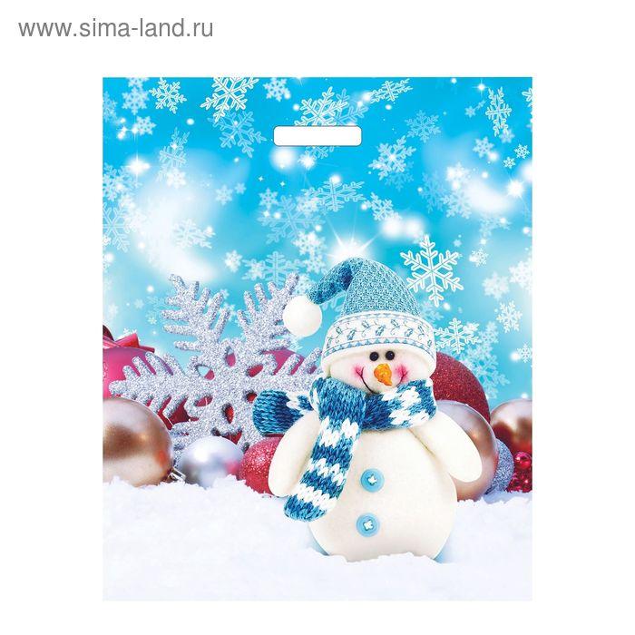 """Пакет """"Снеговик волшебник"""", полиэтиленовый с вырубной ручкой, 36 х 45 см, 45 мкм"""