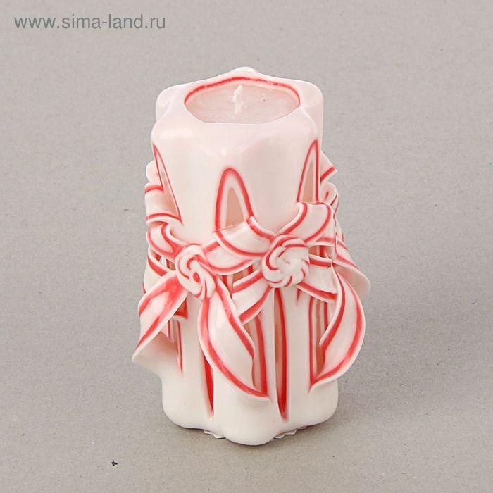 """Свеча резная """"Лиона"""" 11 см, цвет белый с красным оформлением"""