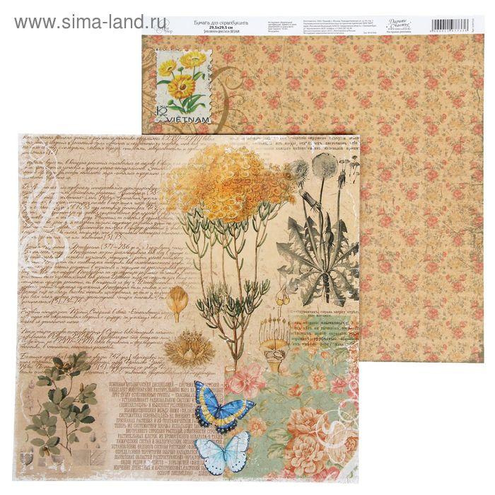 "Бумага для скрапбукинга La Botanique ""Текст"" 29.5 х 29.5 см 180 г/м"