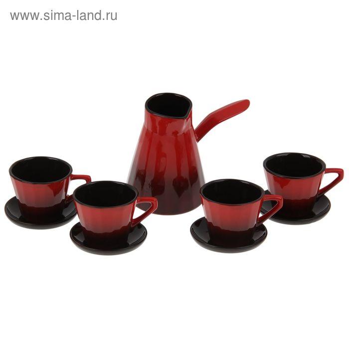 """Сервиз кофейный """"Ностальгия малый"""", турка 700 мл, чайная пара 200 мл 4 шт"""