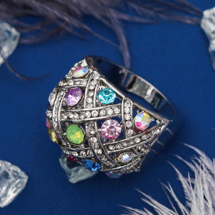 """Кольцо """"Плетёное"""", цветное в серебре, размер 16,17,18 МИКС"""