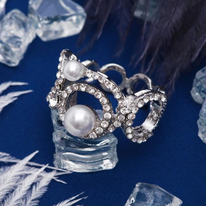 """Кольцо """"Жемчужинки"""" абстракция, цвет белый в серебре, размер 16,17,18 МИКС"""