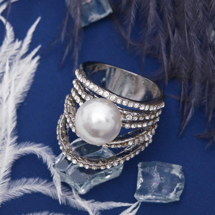 """Кольцо """"Жемчужина"""", цвет белый в серебре, размер МИКС"""