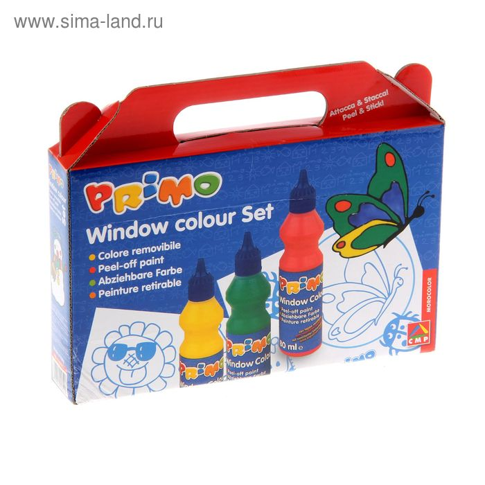 Краска по стеклу витражная Аппликация Primo, набор 6 цветов по 80 мл, 1 контур + трафарет