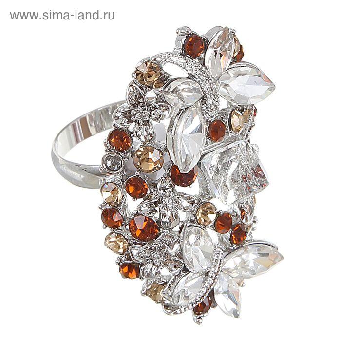 """Кольцо """"Бабочки"""" вечернее, цвет коричнево-белый в серебре, размер МИКС"""