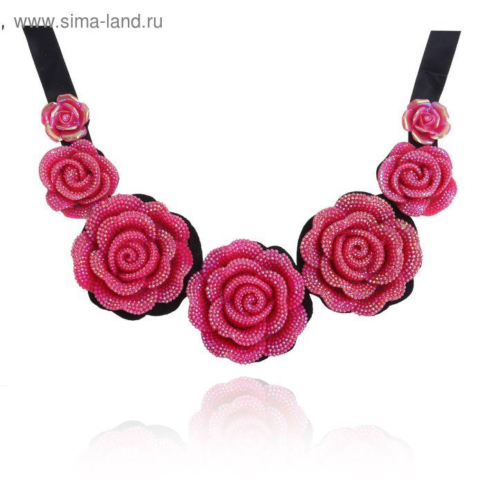 """Колье """"Цветочный букет"""", роза, цвет малиново-чёрный, 45 см"""