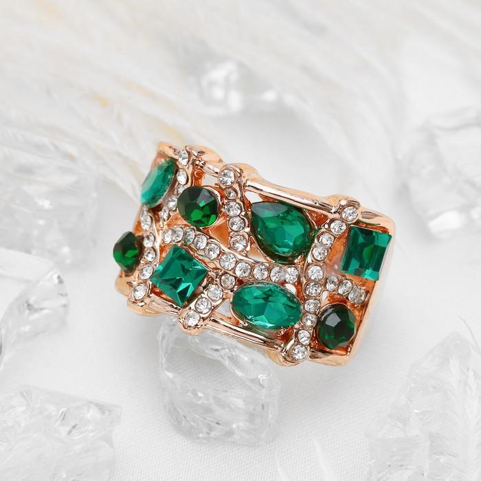 """Кольцо """"Квадраты"""", цвет бело-зелёный в золоте, размер 16,17,18 МИКС"""