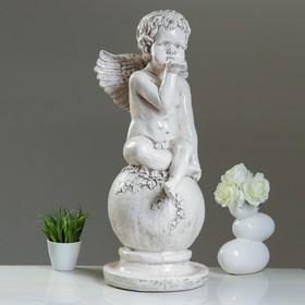 Статуэтка «Ангел на шаре» огромный / состаренный, 35 × 28.5 × 72 см