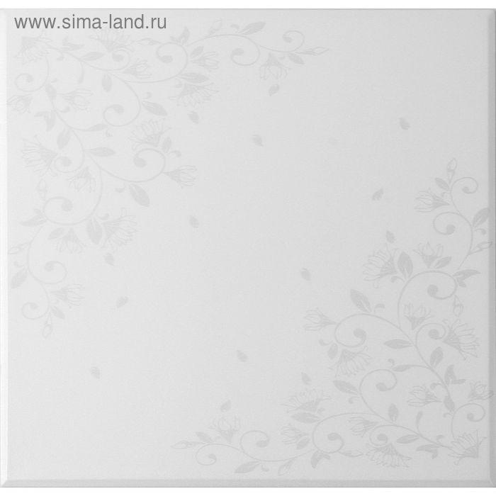 """Плита потолочная """"Цветочный узор"""", цвет серебро"""
