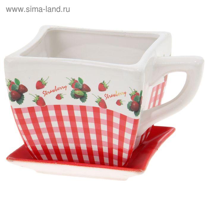 """Кашпо-чашка """"Ягоды"""" квадратное, красно-белое"""