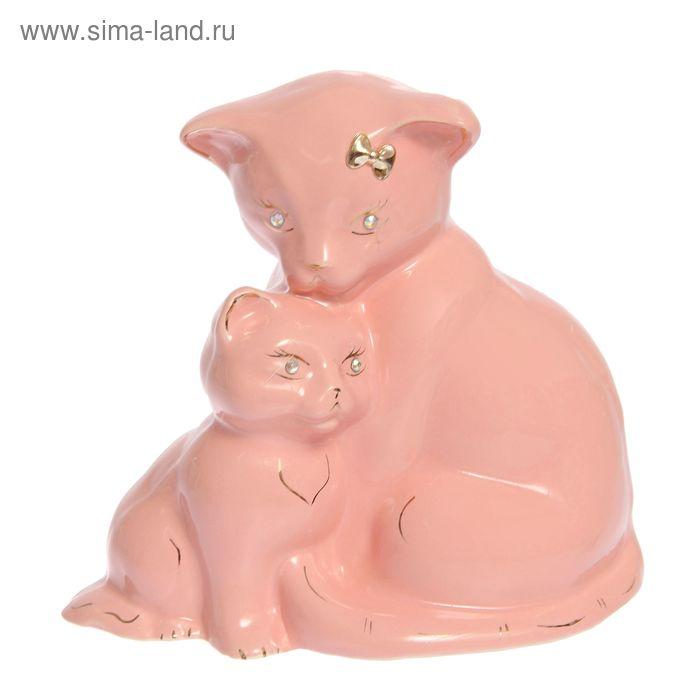 """Копилка """"Кошка с котёнком"""" глазурь, розовая"""