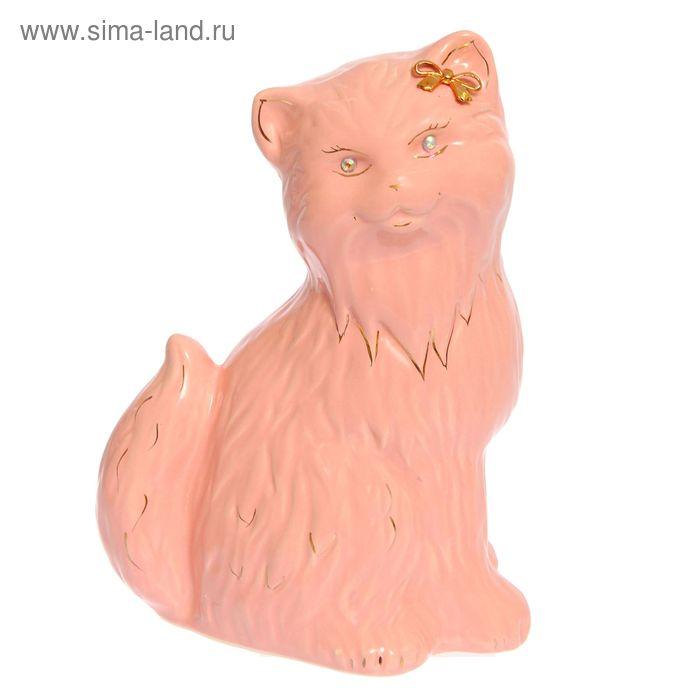 """Копилка """"Кошка Сима"""" большая, глазурь, розовая"""