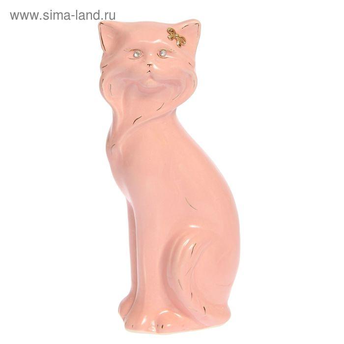 """Копилка """"Кошка Матильда"""" малая, глазурь, розовая"""
