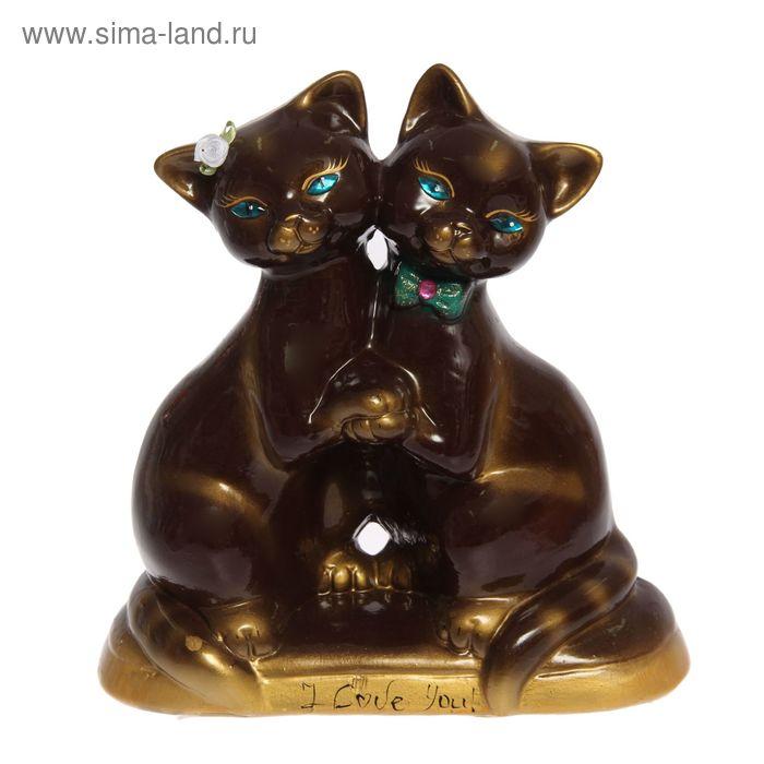 """Копилка """"Танцующие коты"""" глянец, коричневая, задувка золото, микс"""