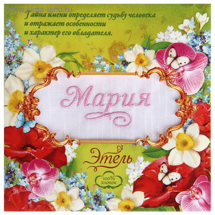 """Платок носовой с вышивкой """"Collorista"""" Мария, 28 х 28 см, хлопок"""
