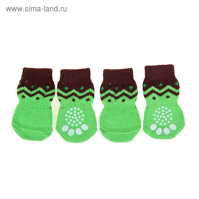 Носки хлопковые нескользящие, размер S, набор 4 шт, зелено-черные