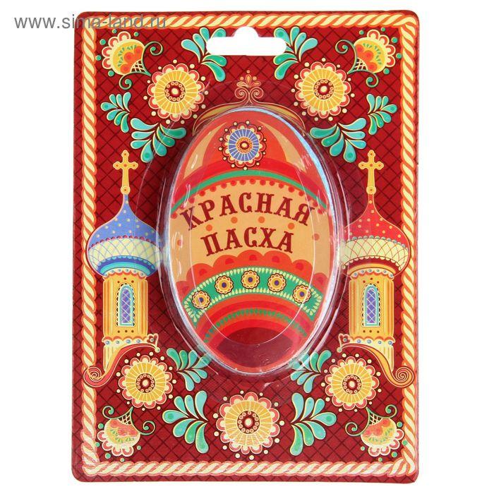 """Прессованное полотенце на открытке """"Collorista"""" Красная Пасха, 26х50 см, хлопок"""