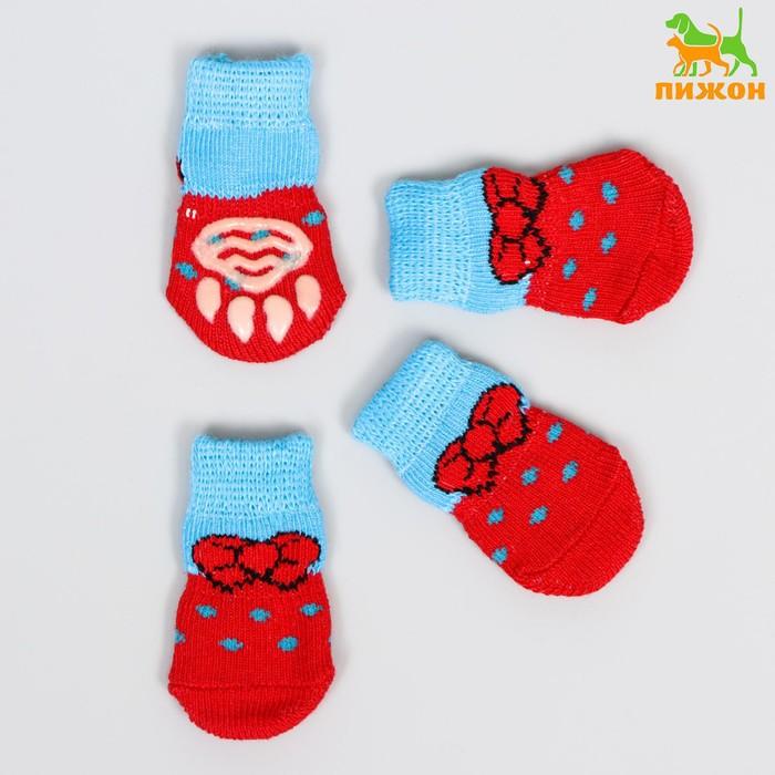 """Носки хлопковые нескользящие """"Бантик"""", размер M, набор 4 шт, красно-голубые"""