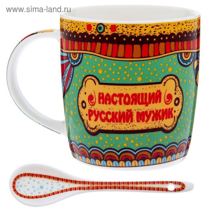 """УЦЕНКА Кружка с ложкой """"Настоящий русский мужик"""", 350 мл"""