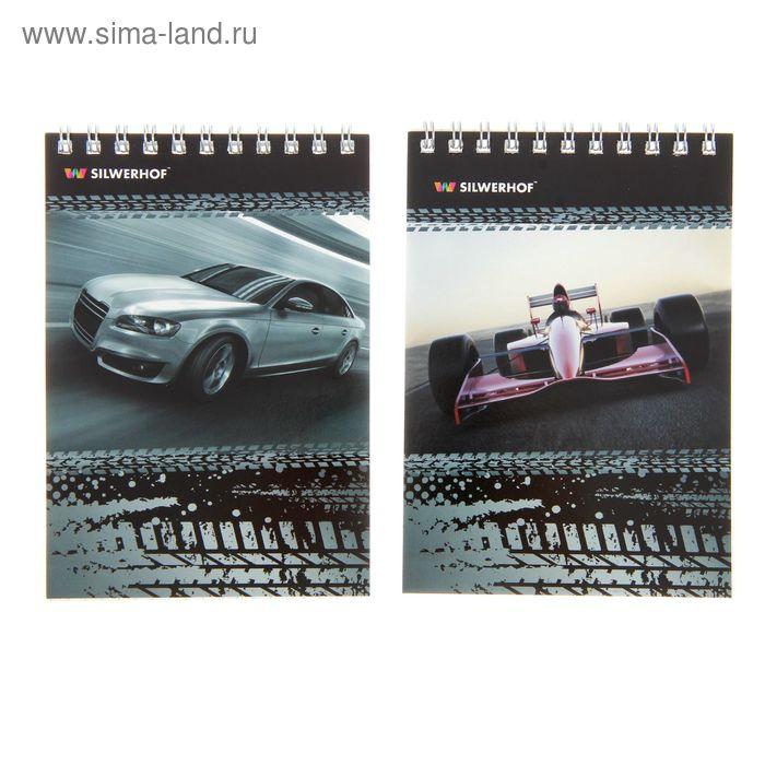 """Блокнот А6, 40 листов на гребне """"Машины"""", картонная обложка, лак сплошной, 2 вида, МИКС"""