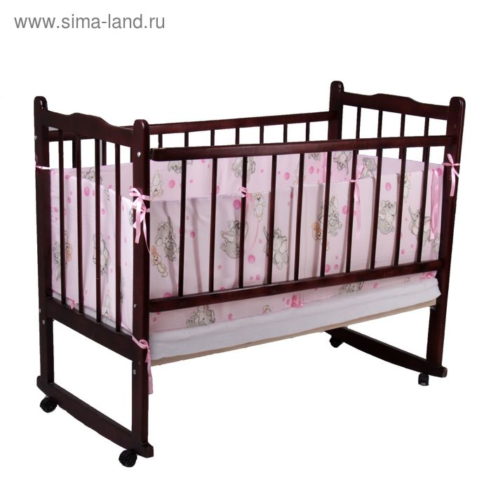 "Бортик ""Слонята"", 4 части (2 части: 40х60 см, 2 части: 40х120 см), цвет розовый (арт. 522)"