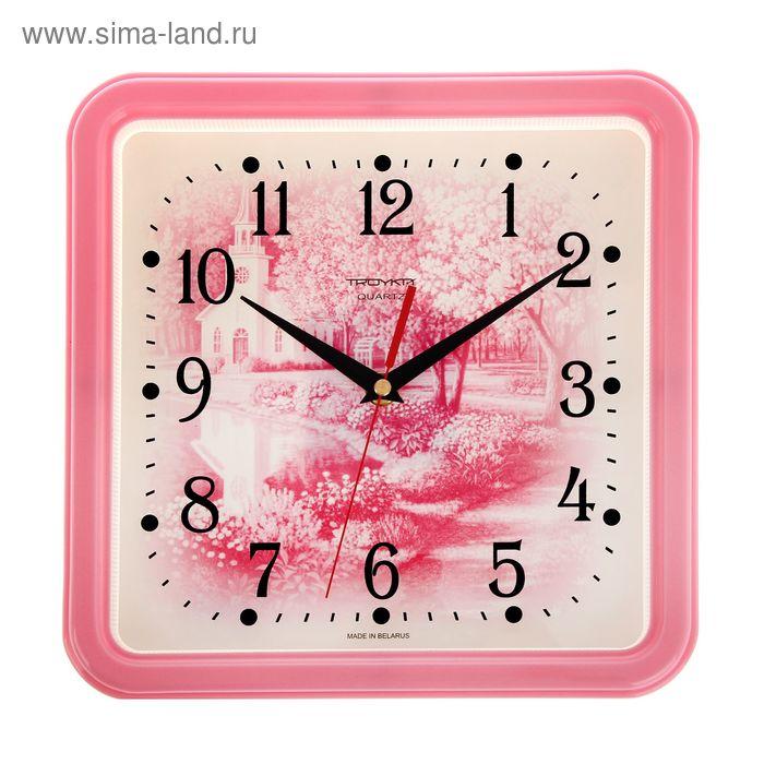 """Часы настенные квадратные """"Розовый пейзаж"""", розовый обод, 26х26 см"""