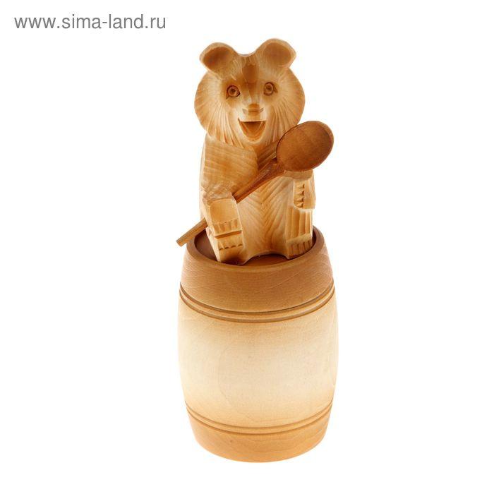 """Бочонок для мёда и сыпучих продуктов """"Медведь на крышке"""" липа, 0,25 л, ручная работа"""