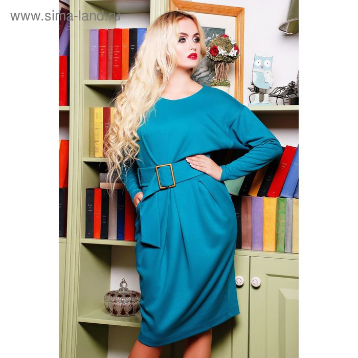 Платье женское, размер 50 (XXL), цвет бирюза (арт. 71174B С+)