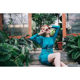 Платье женское 71174  цвет бирюза, размер 42 (S)