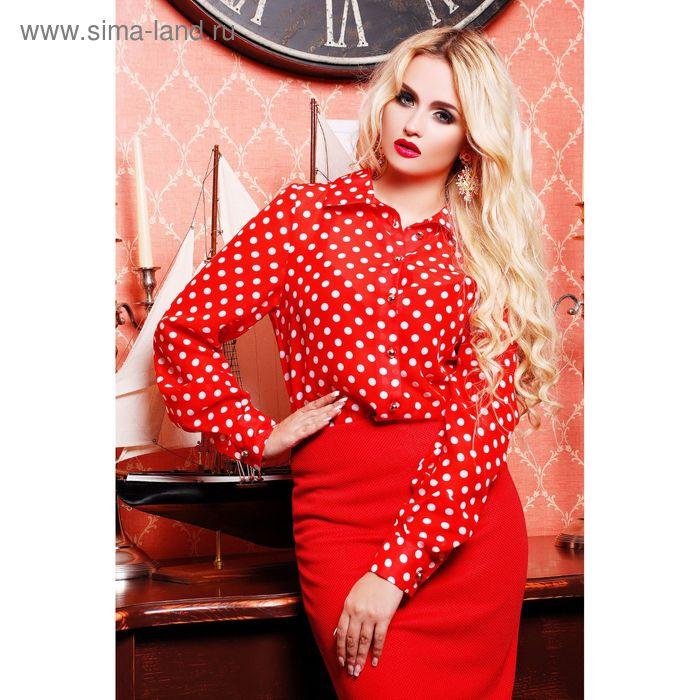 Блузка женская 72038, размер 42 (S), цвет красный/горох