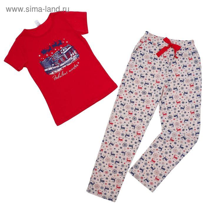 """Комплект для девочки """"Олени"""" (футболка+штаны), рост 152 см (80), цвет брусника К 2408"""